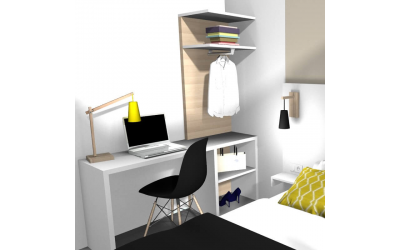 plan de mobilier de bureau panneau tv et miroir baltys. Black Bedroom Furniture Sets. Home Design Ideas