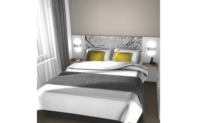 T te de lit lit gigognes et table de chevet pour h tel et - Tete de lit hotel ...