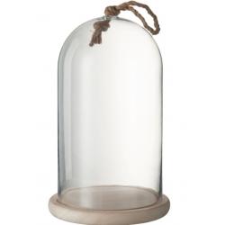 Cloche ronde avec corde en verre et en bois