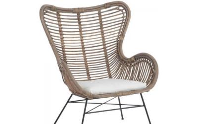 Chaise en rotin naturel et en métal avec coussins