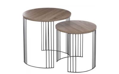 Set 2 tables gigognes en bois et métal naturel