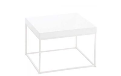Table gigogne carrée en bois et métal blanc
