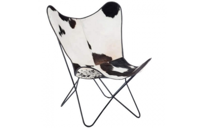 Chaise lounge en peau de vache et métal noir et blanc