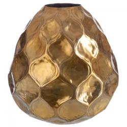 Vase boule martele en aluminium or