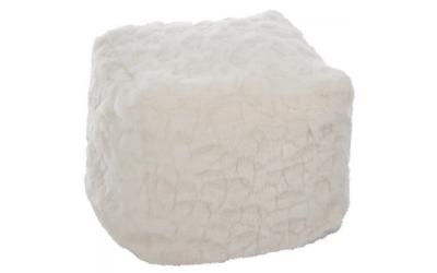 Pouf imitation fourrure crème