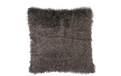 Coussin fourrure synthétique polyester et suédine gris