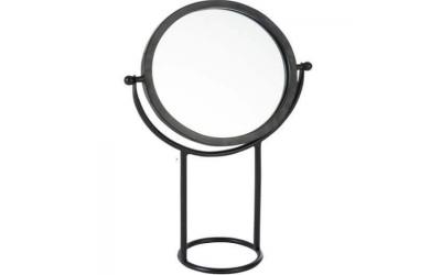Miroir sur pied rond en métal et en verre noir