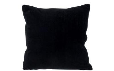 Coussin velours ourlet en polyester noir