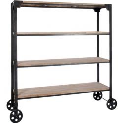 Étagère sur roues à 4 niveaux en bois naturel et métal noir