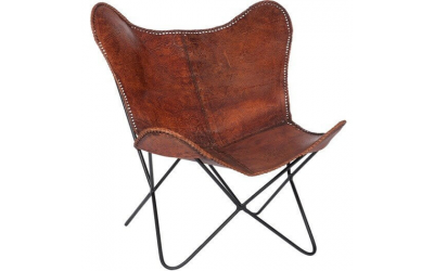 Chaise lounge en cuir marron
