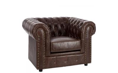 Sofa avec boutons en PU marron