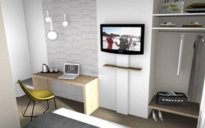 Bureau, Panneau TV et Miroir